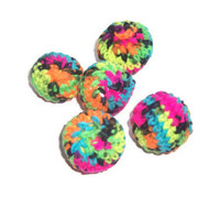 5 Neon Balls - Hand crocheted - Stress Balls , Cat Toys , Kids Soft Balls