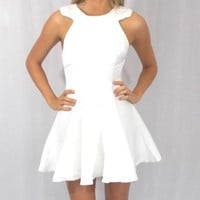 White Sleeveless Dress With Pleated Flare Skirt