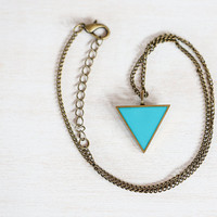 Triangle Necklace in Teal