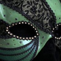 Handmade Green, Black and Textile Mask - Masquerade Diva | Sparks - Clothing on ArtFire