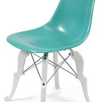 Eames Fiberglass Shell Chair Tiffany Blue with white powder coated Prince Charles Base