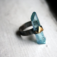 The Future Ring Aqua Aura crystal in by RachelPfefferDesigns