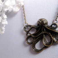 Sea Life Octopus Necklace  Antique Brass  by FashionCrashJewelry