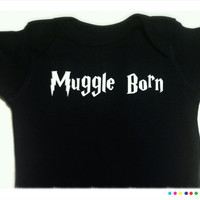 Black Short Sleeve Muggle Born Bodysuit 03 Months 36 by BCheniful