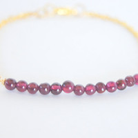Red Garnet Gold Plated Dainty Bracelet, Women&#x27;s Fashion, Wedding, Bridal Jewelry, Bridesmaids