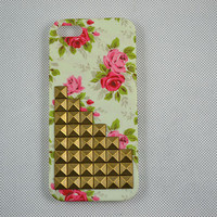 iPhone 5 case, vintage bronze pyrmaid studs iPhone 5 case, floral studded iPhone 5 case, custom iPhone 5 case