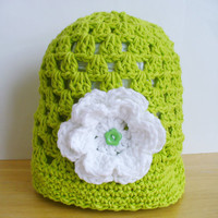 ON SALE - Lime Green Cotton Summer Hat with Flower