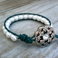 Duchess - Teal leather single-wrap bracelet white freshwater pearls | TOWNOFBEADROCK - Jewelry on ArtFire