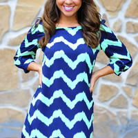 Everything Is A Blue Chevron Dress | Hope&#x27;s