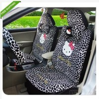 18pc Hello Kitty car seat cover leopard car cushion neckrest rearview seat cover