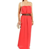 Coral Belted Maxi Dress