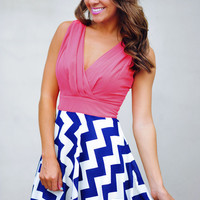 The Sarah Belle Dress: Coral/Navy | Hope&#x27;s