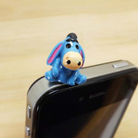 Cute Disney Blue Funny Donkey Friendship Anti Dust Plug - 3.5mm Smart Phone Earphone Cap Headphone Jack Charm for iPhone 4 4S 5 HTC Samsung