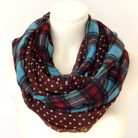 Infinity Scarf Plaid Polka Dot -Turquoise Red & Brown Ivory - Loop Circle Chunky Scarf Spring Accessory