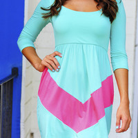 Little Taste Of Chevron Dress: Blue/Pink | Hope's