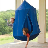 HearthSong Nylon Canvas HugglePodTMHangOut with LED Lights, in Blue