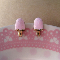 Popsicle Earrings Studs Light Pink by Bitsofbling on Etsy
