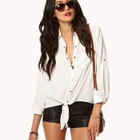 Tie-Front Georgette Shirt | LOVE21 - 2042818982 -- CLICK FOLLOW