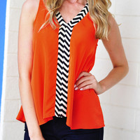 Touch Of Chevron Top: Red-Orange | Hope&#x27;s