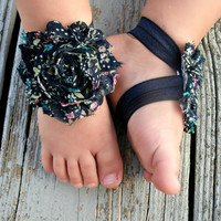 Baby Barefoot Sandals .. Navy Floral .. Toddler Sandals .. Newborn Sandals