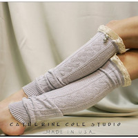 Edelweiss LEGWARMERS silver grey knit w by CatherineColeStudio