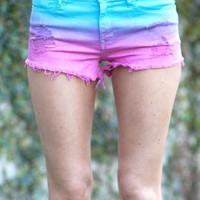 High Waist Pink & Blue Ombre Cut-Off Shorts