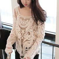 Women's Lace Beige Retro Floral Knit Top Long Sleeve T-Shirt Waistcoat Pullover