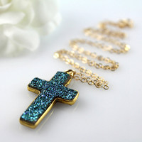 Blue Druzy Cross Pendant Necklace, Blue Green Titanium Drusy, Sparkling Blue Cross, 14k Gold filled Chain