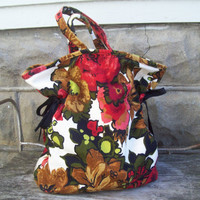 Large Floral Barkcloth Tote