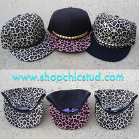 Studded Hat Snapback - Leopard Print - Gold OR Silver OR Black Studs