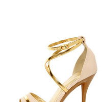 Shoe Republic LA Udell Nude and Gold Strappy Dress Sandals