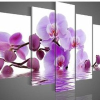 Amazon.com: 100% Hand-painted Free Shipping Wood Framed Purple Flowers Water Side Home Decoration Abstract Landscape Oil Painting on Canvas 5pcs/set: Home & Kitchen