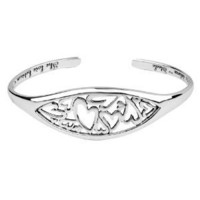 "Amazon.com: Sterling Silver ""The Love Between A Mother And Daughter Knows No Distance"" Heart Cuff Bracelet: Jewelry"