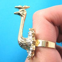 3D Adjustable Peacock Bird Animal Ring in Gold with Rhinestones