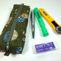 Unique Pencil Case, Kimono Pen Holder, Gift Idea Under 15, Zippered Pen Cases Japanese Kimono cotton fabric Happy Owls Green