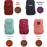 Toffeenut Knit Fabric Multi Pencil Pen Pocket Case Pouch Holder Bag Cute Kawaii