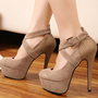 Fashion Round Closed Toe Super High Stiletto Heels Apricot Suede Ankle Wrap Pumps_Pumps_Womens Shoes_Cheap Clothes,Cheap Shoes Online,Wholesale Shoes,Clothing On lovelywholesale.com - LovelyWholesale.com