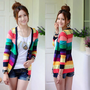 New Women Korean Fashion Colorful stripes deep V-neck knit cardigan Sweater