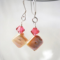Pink Swarovski Crystal and Freshwater Pearl Sterling Silver Earrings