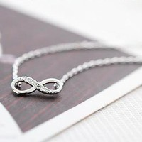Infinity Necklace With Rhinestone Crystal from Emerald Sea