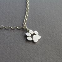 Paw Print Anklet - Sterling Silver Ankle Bracelet - Cat and Dog Paw - Paw Charm - Hand Cut