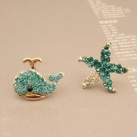 Whale starfish earrings