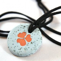 Ceramic Clover Leaf Impression Pendant - speckled light blue | HarmonArt - Ceramics & Pottery on ArtFire