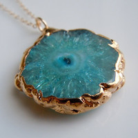 Teal Blue Stalactite Necklace in Gold by 443Jewelry on Etsy