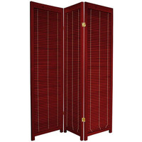 Oriental Furniture Wooden Shutter Room Divider in Rosewood