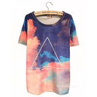 Gradient Sky Geometric Print Slim Tshirts