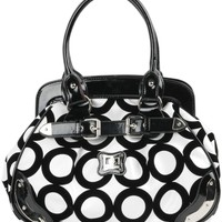 Amazon.com: Black and White Chic Mod Circle Bowler Satchel Hobo Handbag