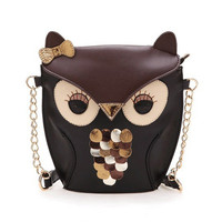 Vintage Retro Contrast Color Owl Shoulder Bag