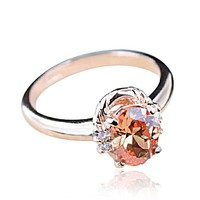 Fashion Golden Citrine Rose Golden Ring