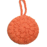 Crochet Face Scrubby Cotton in Coral Red
